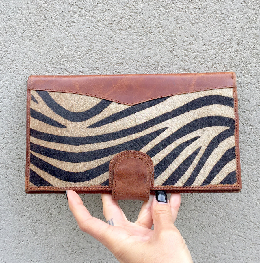 Dahlia Zebra Print Cowhide and Vintage Tan Leather Clutch Wallet, wallets - KITTY KAT,