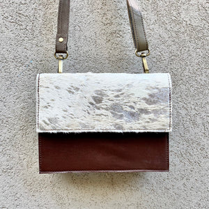 Star Cowhide and Leather Crossbody Clutch Bag - White, Silver Foil, Chocolate, Taupe, Clutch Bag - KITTY KAT,