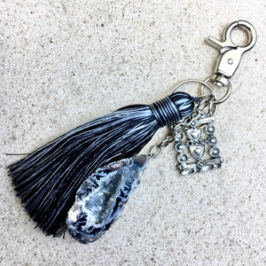Oco Agate Geode Crystal Keyring Bag Charm - Charcoal - KITTY KAT