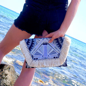 Santorini Fringed Boho Festival Clutch Bag, Clutch Bag - KITTY KAT,