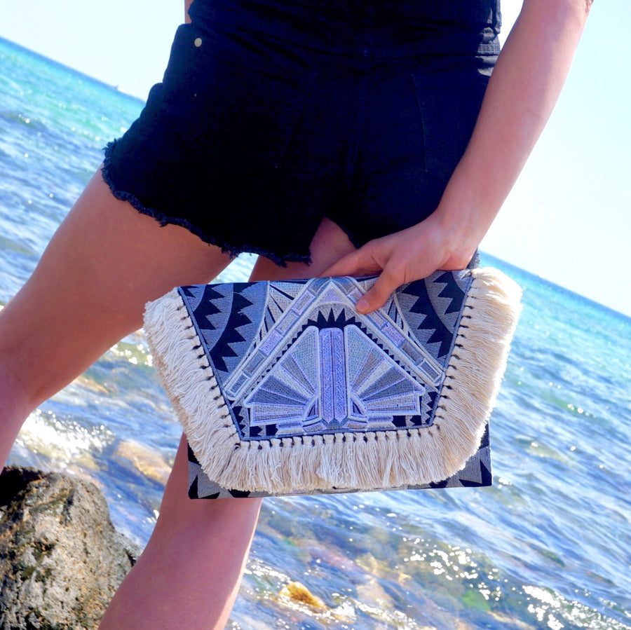 Santorini Fringed Art Deco Festival Clutch Bag, Clutch Bag - KITTY KAT,
