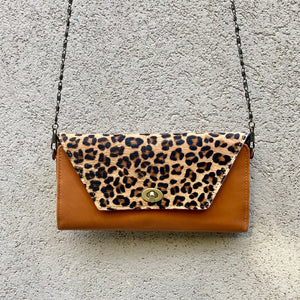 Harley Cowhide and Leather Crossbody Wallet Clutch - Leopard, Apricot Tan - KITTY KAT