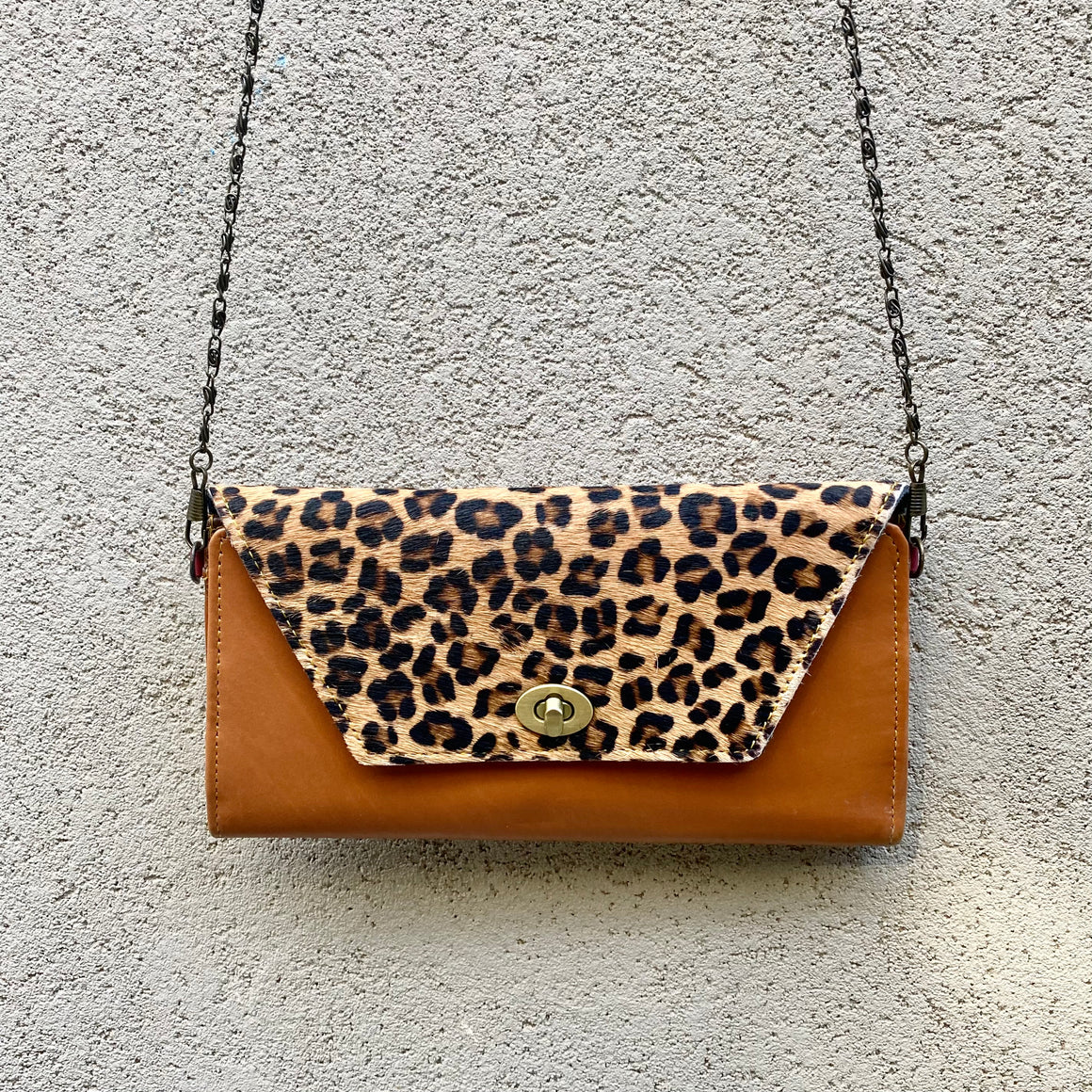 Harley Cowhide and Leather Crossbody Wallet Clutch - Leopard, Apricot Tan, wallets - KITTY KAT,