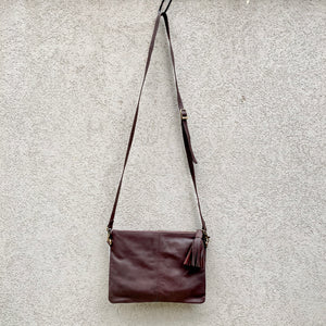 Sahara Reversible Cowhide & Leather Crossbody Clutch Bag - Chocolate White, Clutch Bag - KITTY KAT,