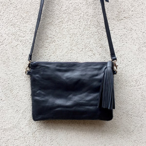 Midnight Cowhide and Leather Crossbody Clutch Bag, Clutch Bag - KITTY KAT,