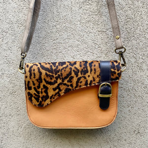 Paris Cowhide and Leather Crossbody Clutch Bag - Cheetah, Tangerine, Sand, Clutch Bag - KITTY KAT,