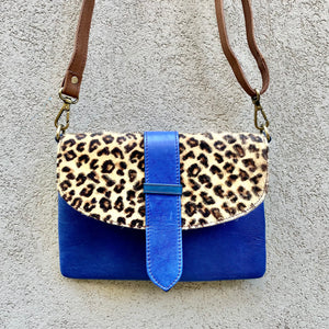 Dakota Cowhide and Leather Crossbody Clutch Bag - Leopard, Blue, Green, Crossbody Clutch Bag - KITTY KAT,