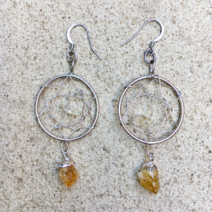 Dreamcatcher Citrine Crystal Earrings, Crystal Earrings - KITTY KAT,