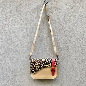 Paris Cowhide and Leather Crossbody Clutch Bag - Leopard, Tan, Chocolate - KITTY KAT
