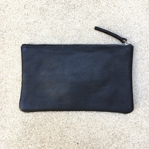 Lotus Flower Black Cowhide and Leather Clutch Pouch, Clutch - KITTY KAT,