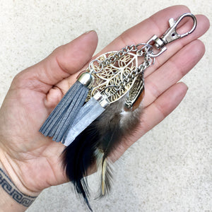 Selenite Crystal Keyring Bag Charm, Crystal Bag Charm - KITTY KAT,