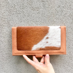 Kym Leather and Cowhide Clutch Wallet - Tan White, wallets - KITTY KAT,