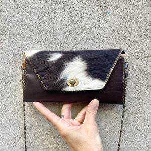 Harley Cowhide and Leather Crossbody Wallet Clutch - Black, White, Raisin Brown, wallets - KITTY KAT,