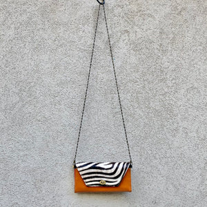 Harley Cowhide and Leather Crossbody Wallet Clutch - Tan, Zebra - KITTY KAT