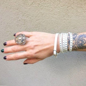 Ella White Leather Studded Wrap Bracelet Cuff, Jewellery - KITTY KAT,