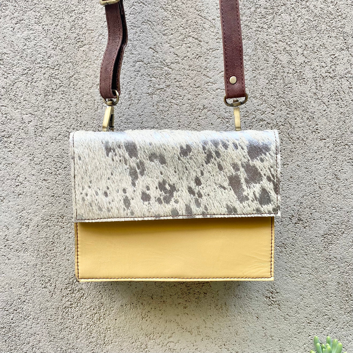Star Cowhide and Leather Crossbody Clutch Bag - White, Silver Foil, Sand, Chocolate, Clutch Bag - KITTY KAT,