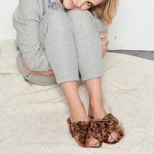 Evie Animal Print Fluffy Slippers, Slippers - KITTY KAT,