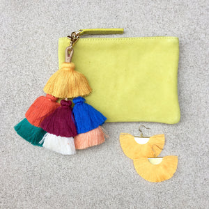 Barcelona Suede Clutch Pouch With Detachable Pom Pom Tassel