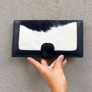 Kym Leather and Cowhide Travel Wallet - Black White, wallets - KITTY KAT,