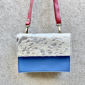 Star Cowhide and Leather Crossbody Clutch Bag - Grey, Silver Foil, Blue, Mocha - KITTY KAT