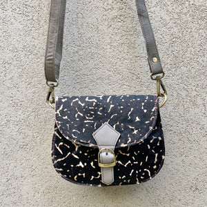 Jupiter Cowhide and Leather Crossbody Clutch Bag - Geometric Black, Taupe - KITTY KAT
