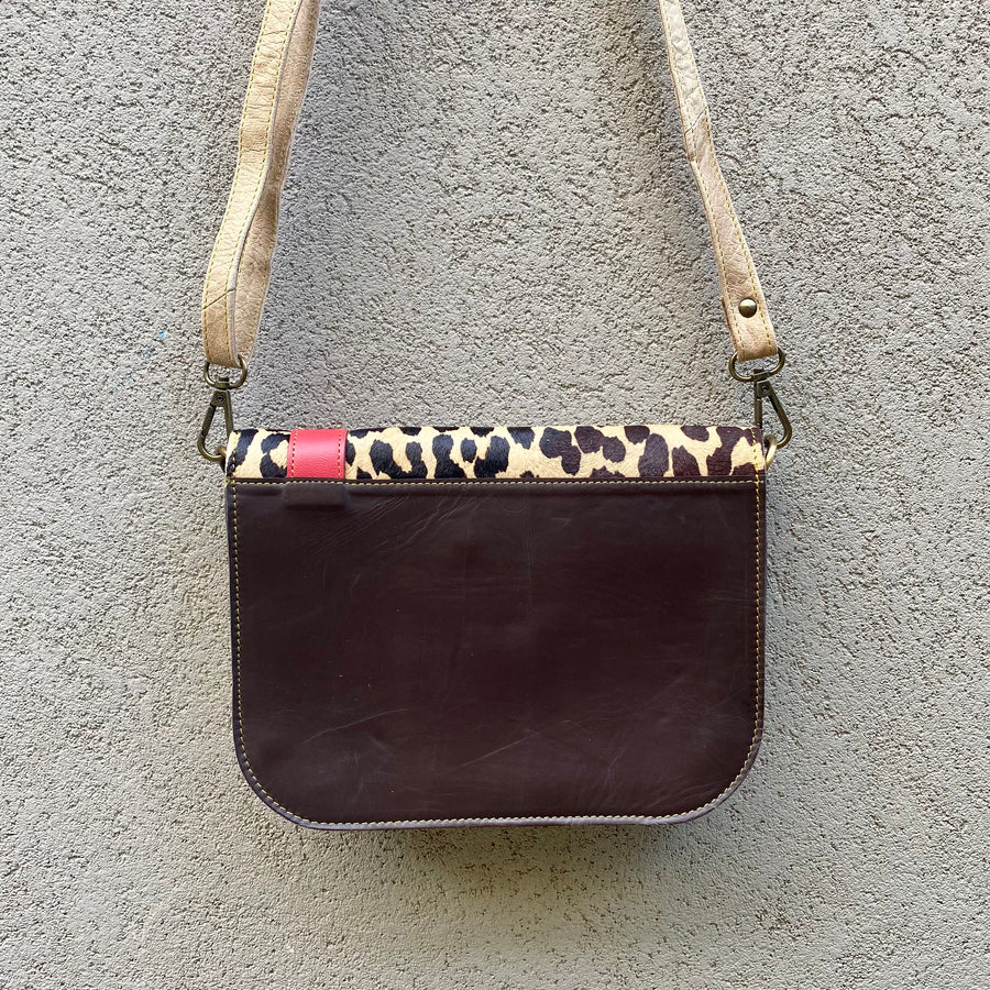 Paris Cowhide and Leather Crossbody Clutch Bag - Leopard, Tan, Chocolate, Clutch Bag - KITTY KAT,