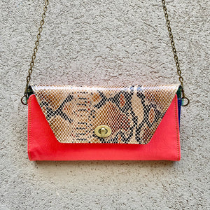 Harley Leather Snakeskin Crossbody Wallet Clutch - Coral Pink, Python, wallets - KITTY KAT,