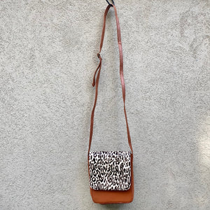 Carolina Cowhide and Leather Crossbody Bag - Leopard, Dark Tan, Crossbody Bag - KITTY KAT,