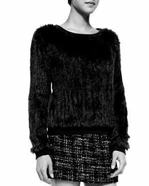 Tonia Rabbit Fur Jumper - Black, Rabbit Fur Clothing - KITTY KAT,