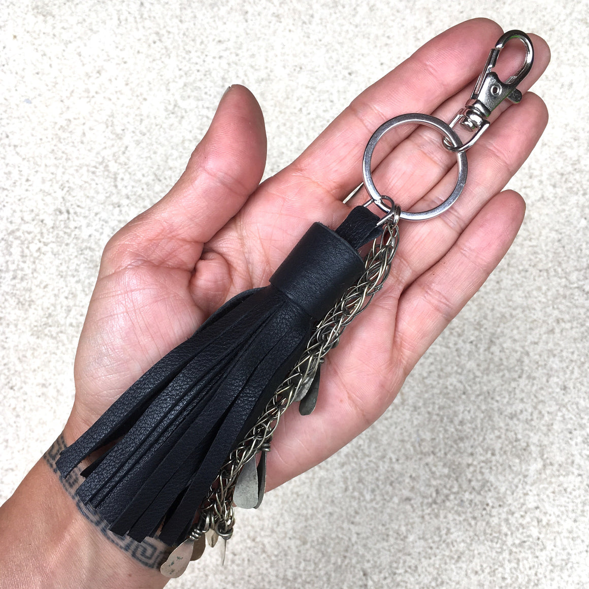 Izzy Black Fringed Leather Tassel Kuchi Keyrings, Keyring - KITTY KAT,