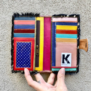 Kiki Cowhide and Leather Mini Wallet - Mocha, Lilac, Black With Silver Foil, wallets - KITTY KAT,