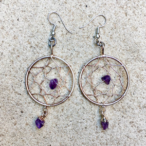 Dreamcatcher Amethyst Earrings, Crystal Earrings - KITTY KAT,