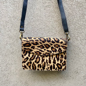 Lucinda Cowhide and Leather Crossbody Clutch Bag - Leopard, Navy Blue, Crossbody Bag - KITTY KAT,