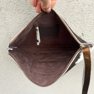 Kendal Reversible Cowhide Clutch Bag - Dark Chocolate White, Clutch Bag - KITTY KAT,