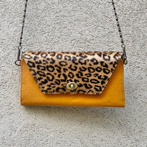 Harley Cowhide and Leather Crossbody Wallet Clutch - Leopard, Dark Tan, wallets - KITTY KAT,