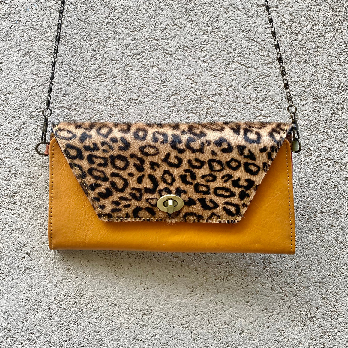 Harley Cowhide and Leather Crossbody Wallet Clutch - Leopard, Dark Tan - KITTY KAT