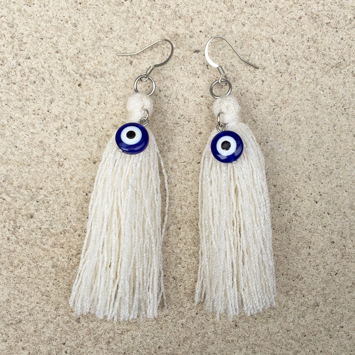 Evil Eye Cream Tassel Drop Earrings, Earrings - KITTY KAT,