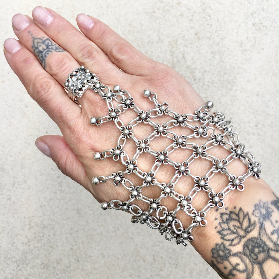 Sage Boho Chain Mail Ring and Hand Bracelet, Ring Bracelet Cuff - KITTY KAT,