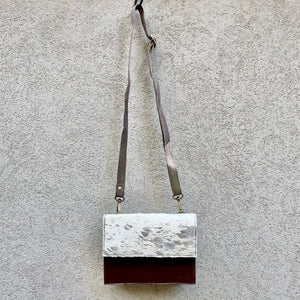 Star Cowhide and Leather Crossbody Clutch Bag - White, Silver Foil, Chocolate, Taupe - KITTY KAT