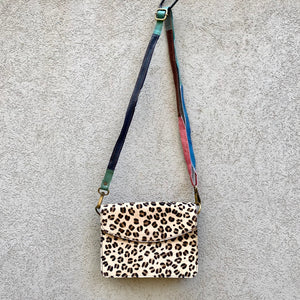 Lucinda Cowhide and Leather Crossbody Clutch Bag - Leopard, Slate Blue - KITTY KAT