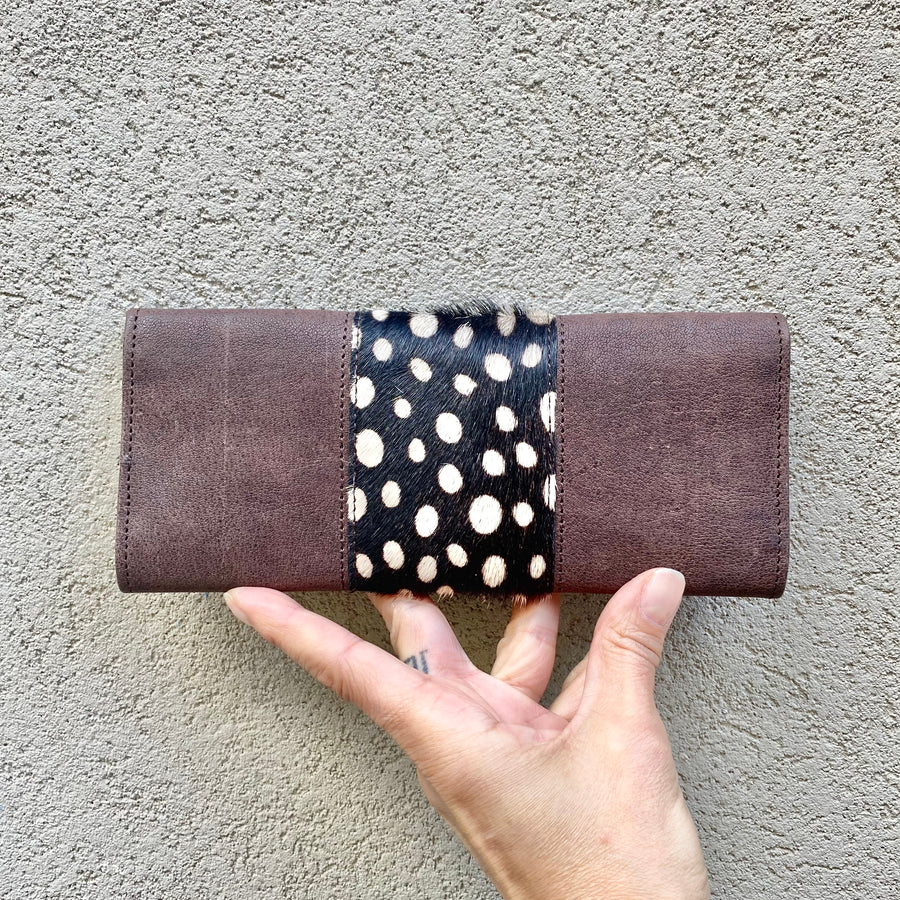 Tonya Cowhide and Leather Slimline Wallet - Chocolate, Black with Spots, wallets - KITTY KAT,