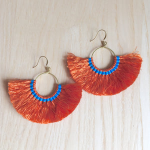 Paros Boho Fringed Cotton and Brass Fan Earrings, Earrings - KITTY KAT,