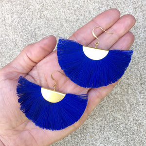 Cassandra Blue Bohemian Half Moon Brass Cotton Earrings, Earrings - KITTY KAT,