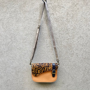 Paris Cowhide and Leather Crossbody Clutch Bag - Cheetah, Tangerine, Sand - KITTY KAT