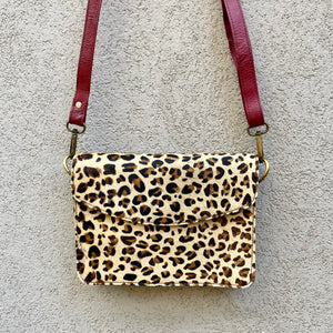 Lucinda Cowhide and Leather Crossbody Clutch Bag - Leopard, Black - KITTY KAT