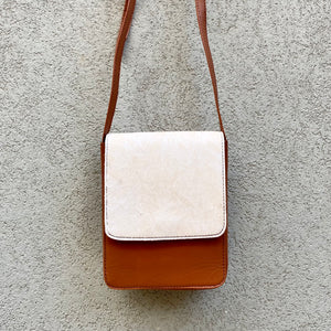 Carolina Cowhide and Leather Crossbody Bag - Cream, Dark Tan - KITTY KAT