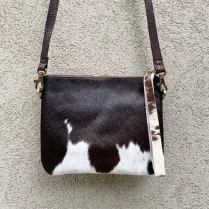 Bella Cowhide Crossbody Clutch Bag - Chocolate White - KITTY KAT