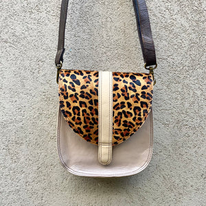 Faith Cowhide and Leather Oblong Crossbody Bag - Leopard, Metallic Lilac, Black, Cream, Crossbody Bag - KITTY KAT,