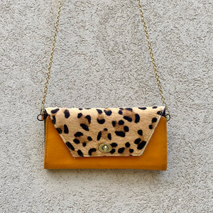Harley Cowhide and Leather Crossbody Wallet Clutch - Apricot Tan, Leopard - KITTY KAT