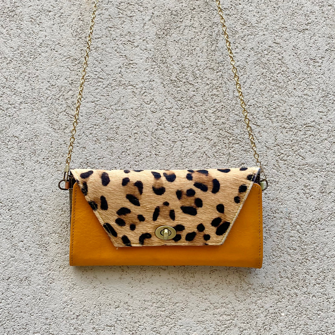 Harley Cowhide and Leather Crossbody Wallet Clutch - Apricot Tan, Leopard, wallets - KITTY KAT,
